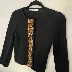Diane Von Furstenburg Black Cardigan Sweater Sz S